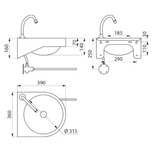 Waschtisch_mit Kniebetaetigung_ADL-180330.2_Zeichnung
