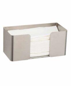 Papierhandtuchspender Edelstahl matt klein oben offen