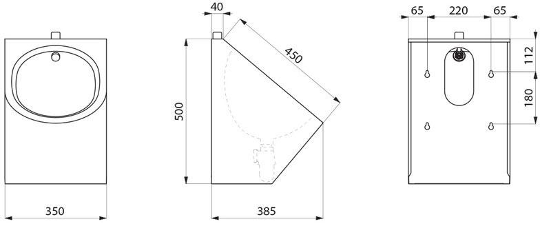 urinal delta wandh ngend edelstahl satiniert anschluss von oben ablauf offen adl 134710 2. Black Bedroom Furniture Sets. Home Design Ideas